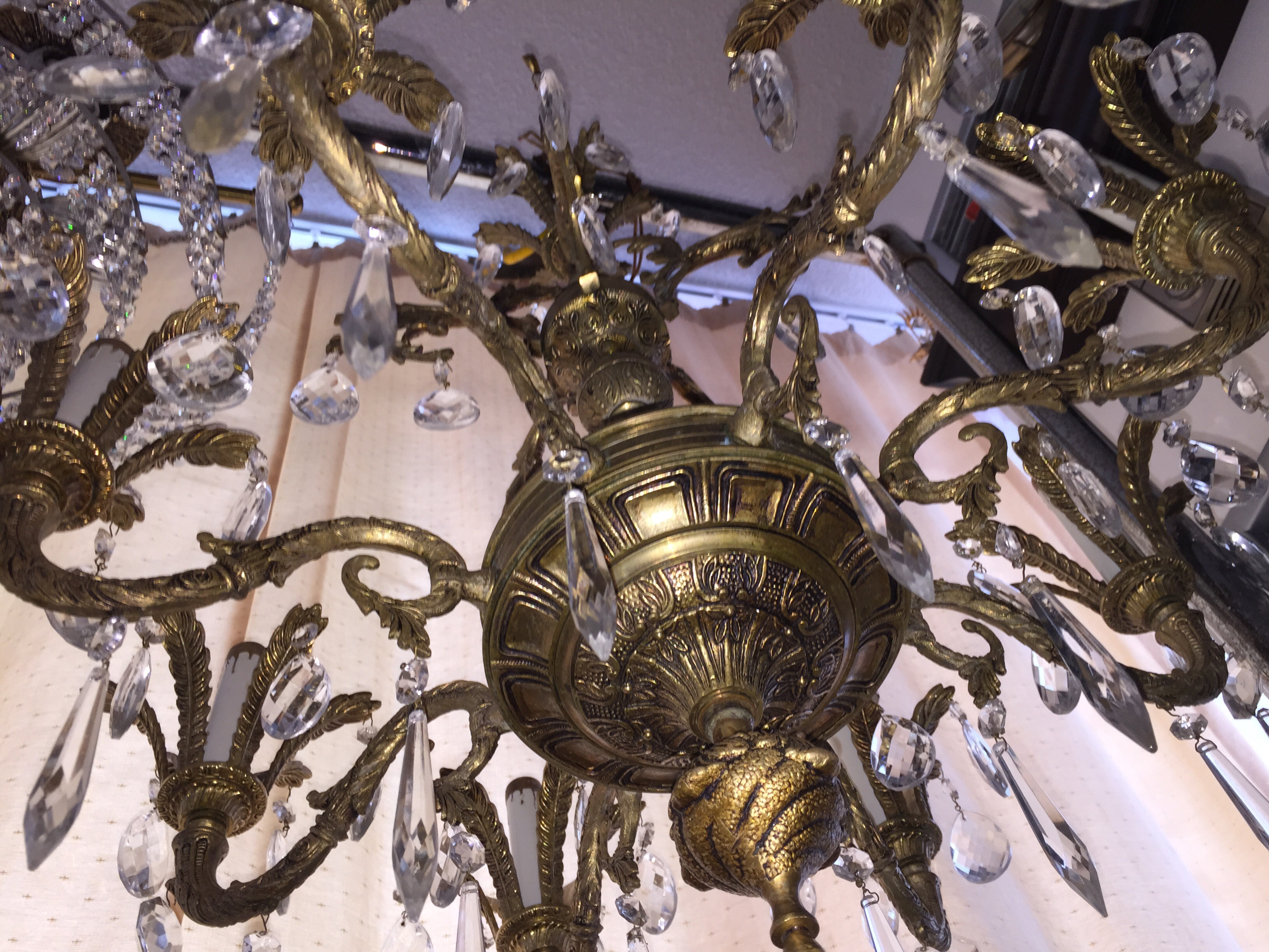 8 arm brass chandelier with real crystals for sale antiques id sell my 8 arm solid brass chandelier beautiful large 8 arms chandelier for sale in excellent working condition with 80 crystals clean and beautiful aloadofball Choice Image