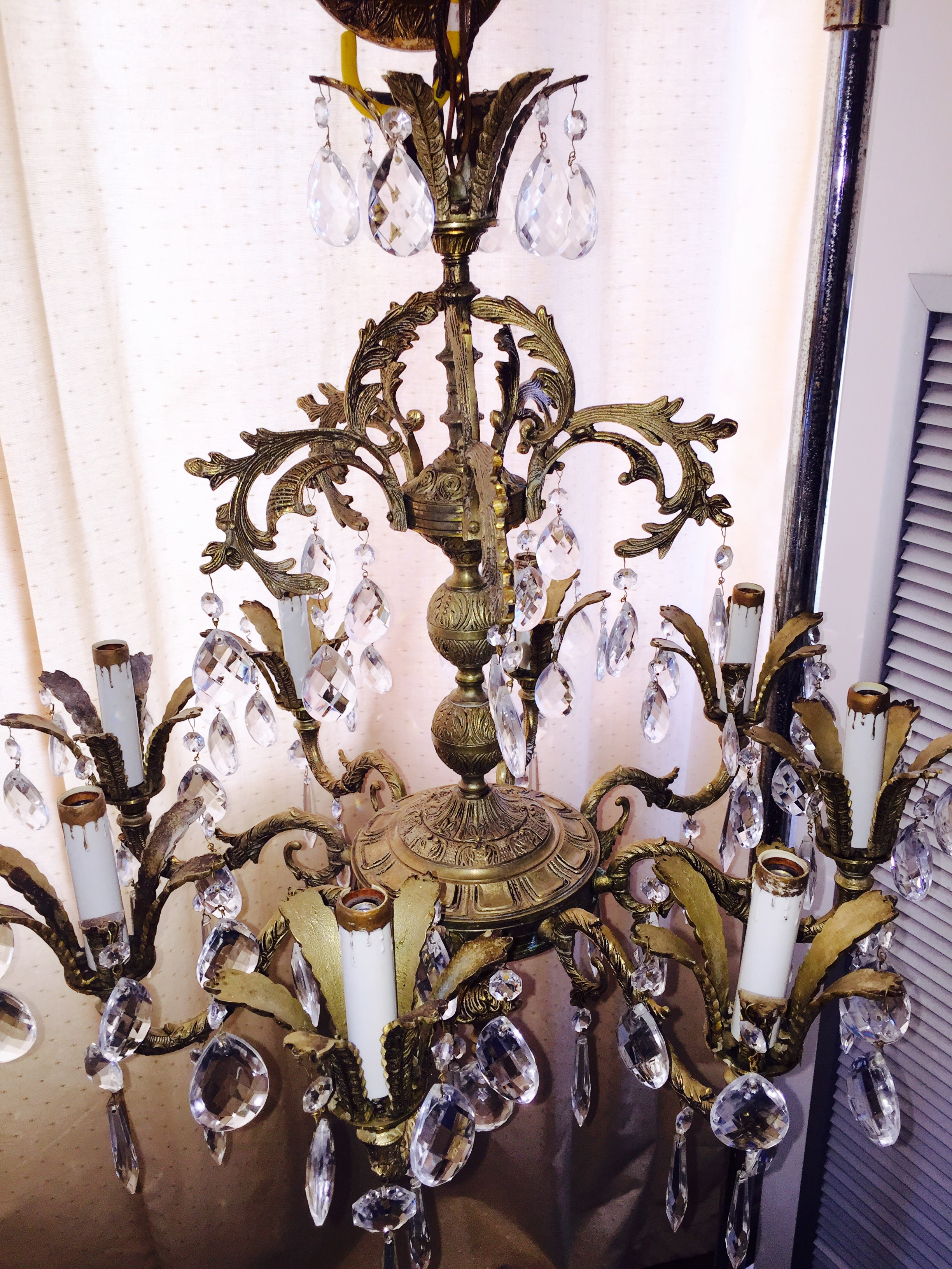 I D My 8 Arm Solid Brass Chandelier Beautiful Large Arms For In Excellent Working Condition With 80 Crystals Clean And
