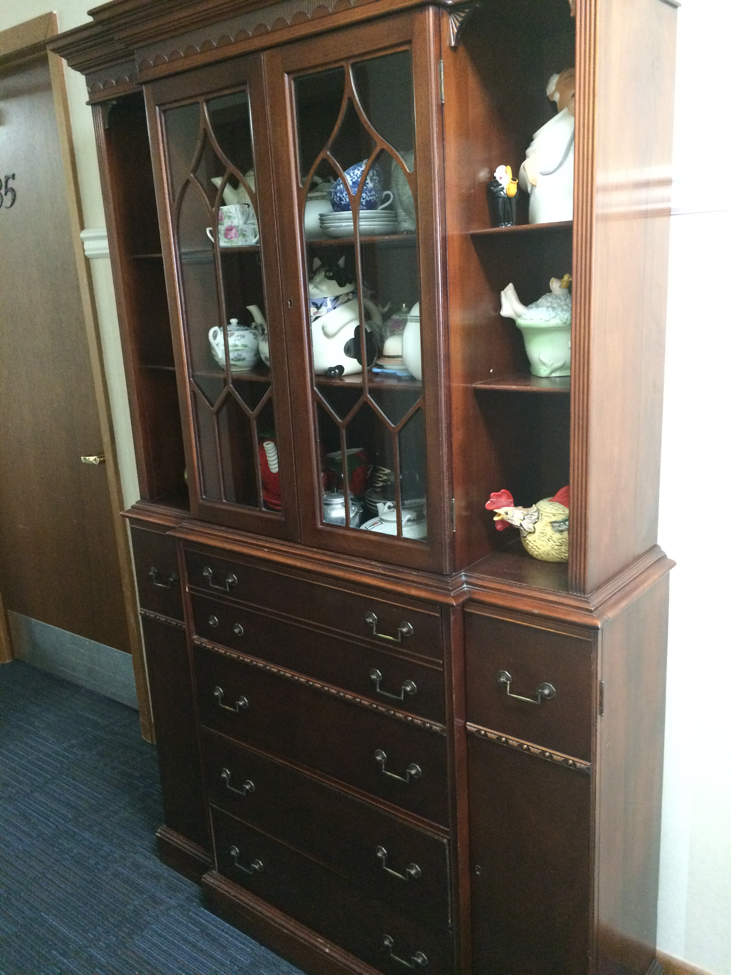 Captivating Pretty Hutch U0026 Desk. Very Good Condition. Interesting Molding. Content Not  Included.