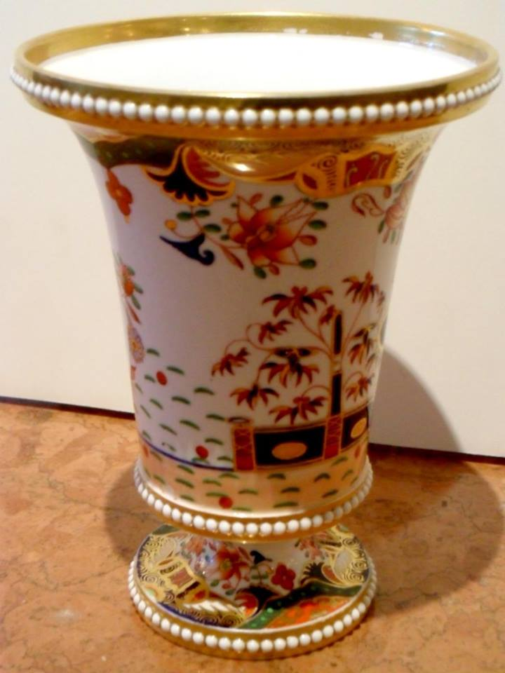 An Antique English Spode Porcelain Vase In The 967 Pattern For Sale
