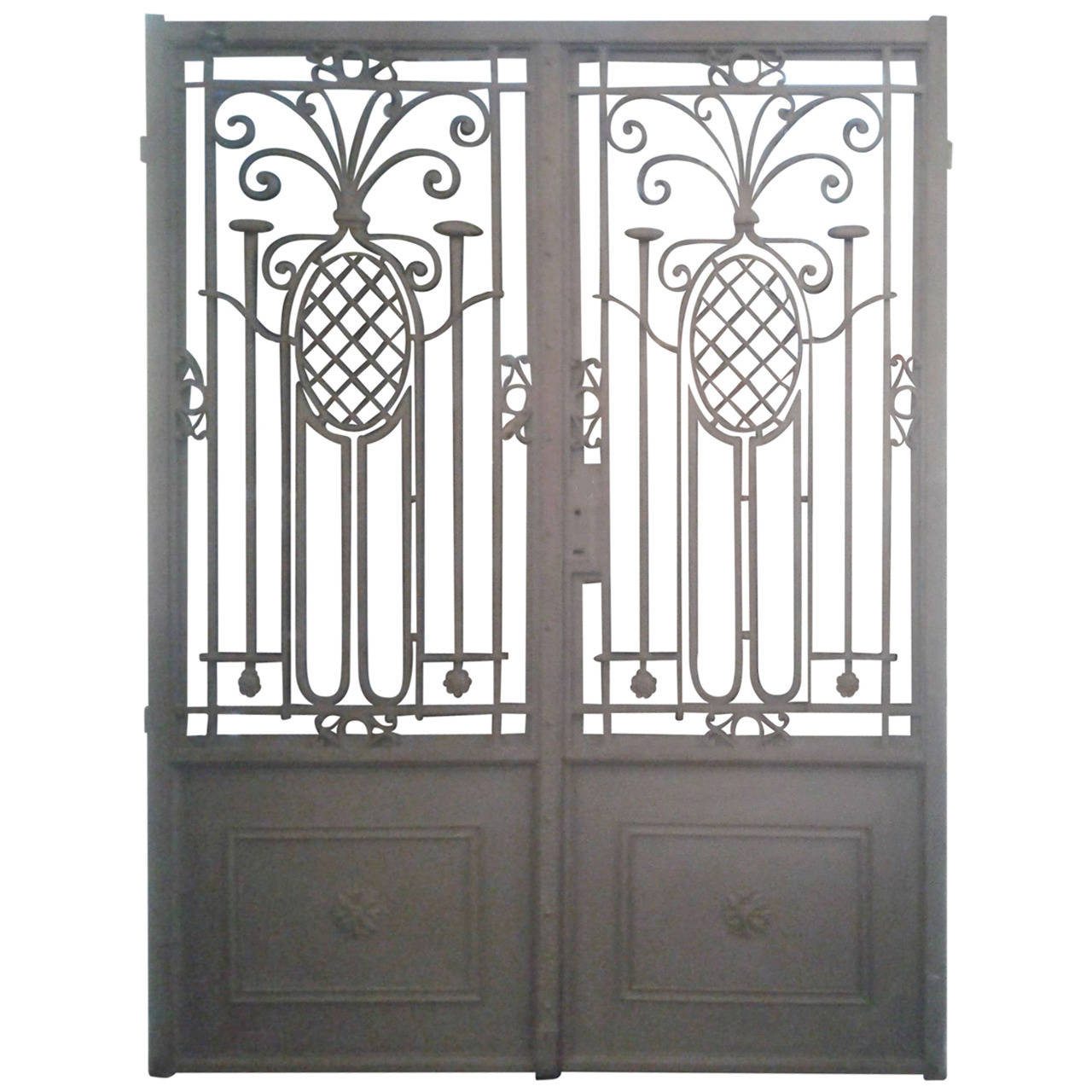 Fabulous Pair of French Iron Gates with Pineapple Decoration For ...