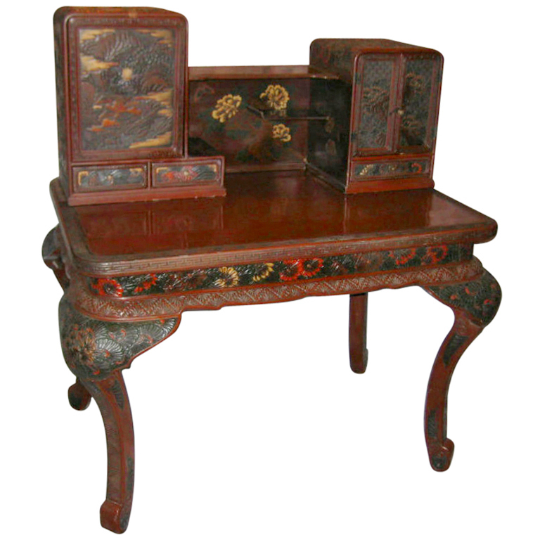 Japanese carved and lacquered desk ca 1900 for sale for Antique chinese tables for sale