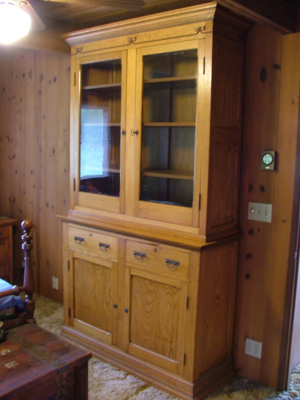 Wooden Oak China Cabinet Or Cupboard From Civil War Era