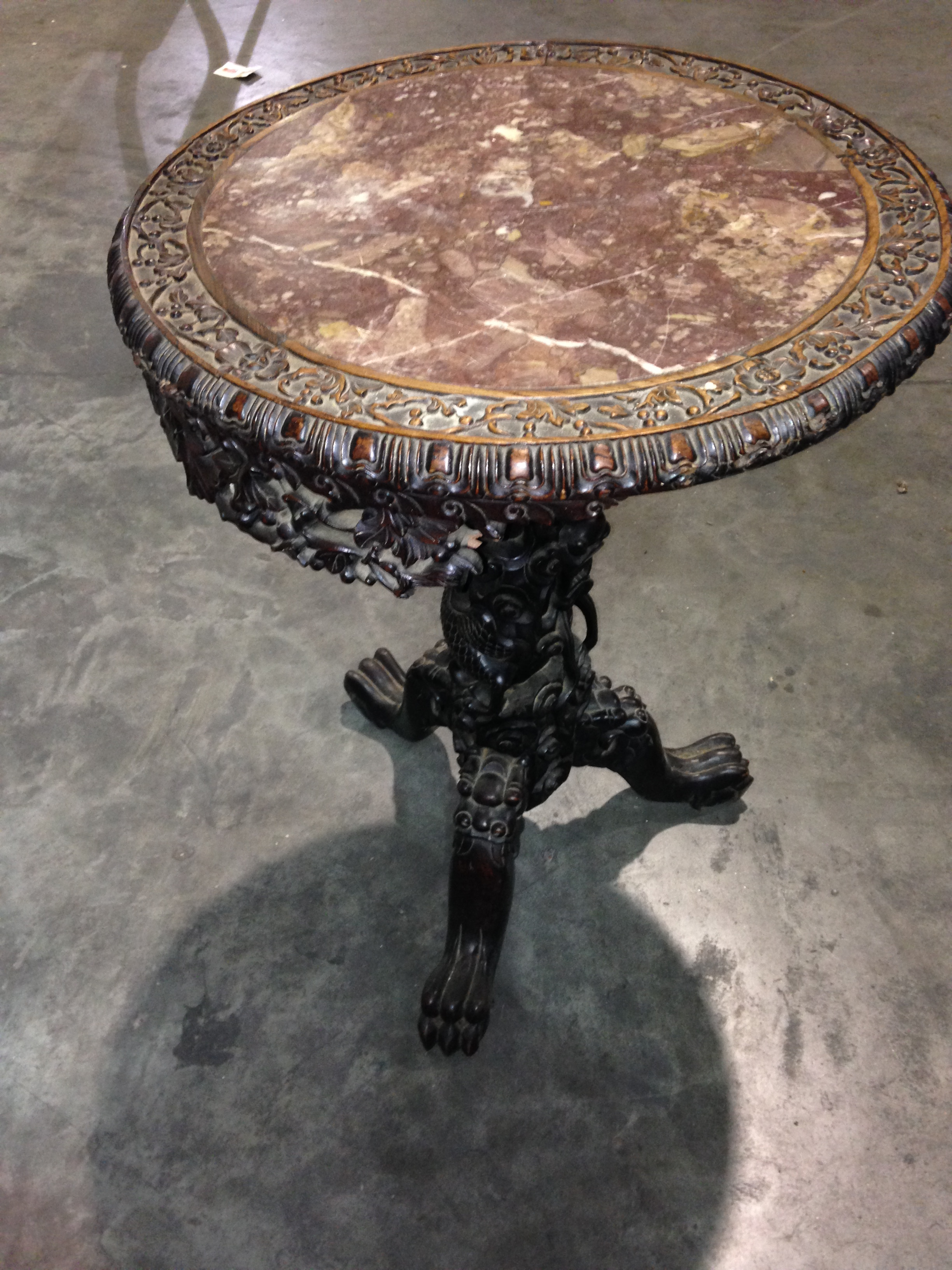 Qing hand carved Dragon pedestal table with marble top For Sale