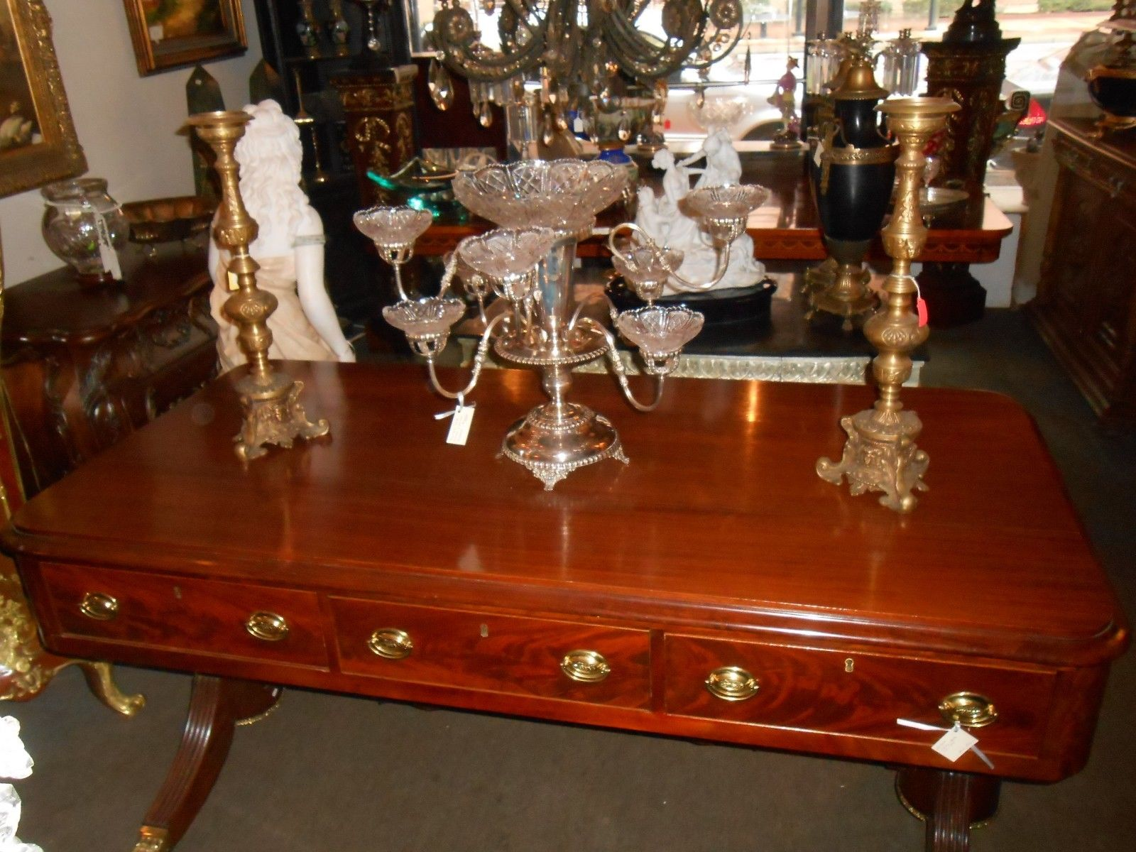 Antique Library Table Mahogany Wood Circa 1825 For
