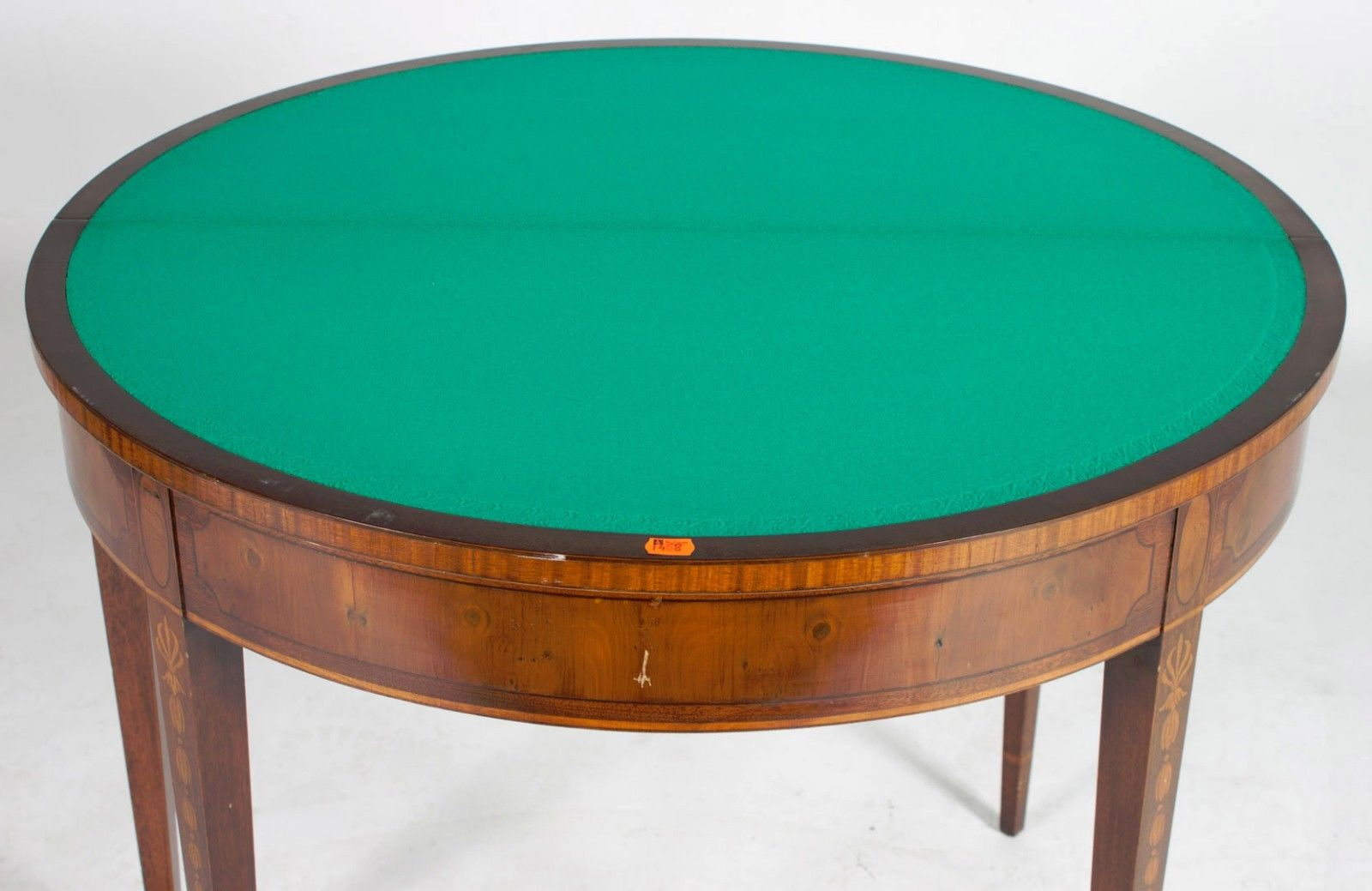 20th Century,William Berkey Furniture Co.hinged Demilune Game Tables  .Inlaid Apron,four Straight Tapered Legs, Flower And Anthemion Inlay. Age  Appropriate ...