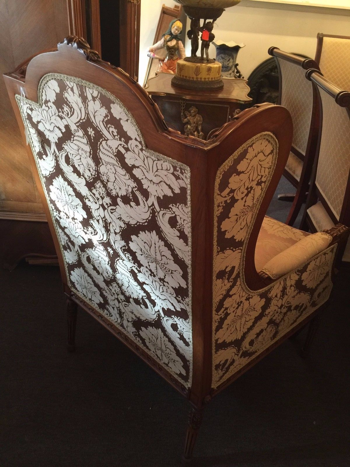 Hand Carved Wing Back Chair with Damask Fabric For Sale