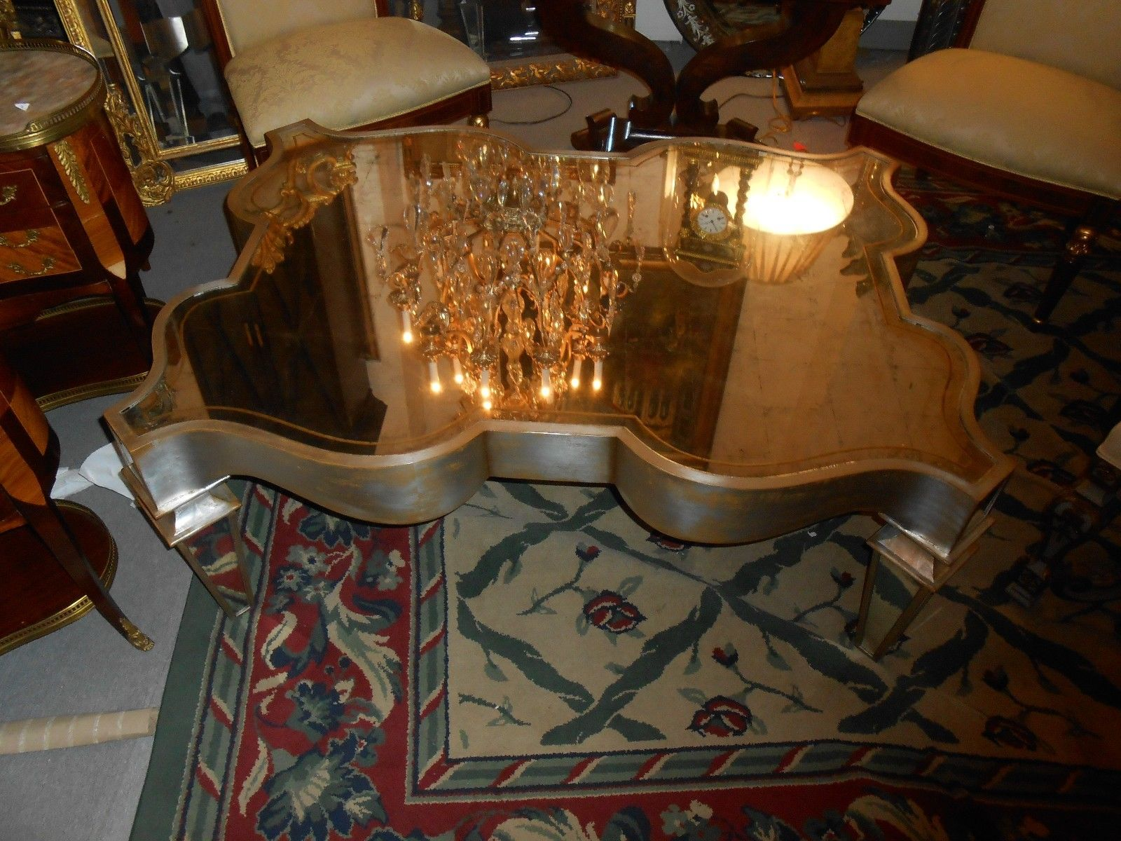 Modern John Richards Coffee Table Silver Leaf Wood Mirrored Top Legs With Accents Very Good Quality Great Detail The Mirror Is