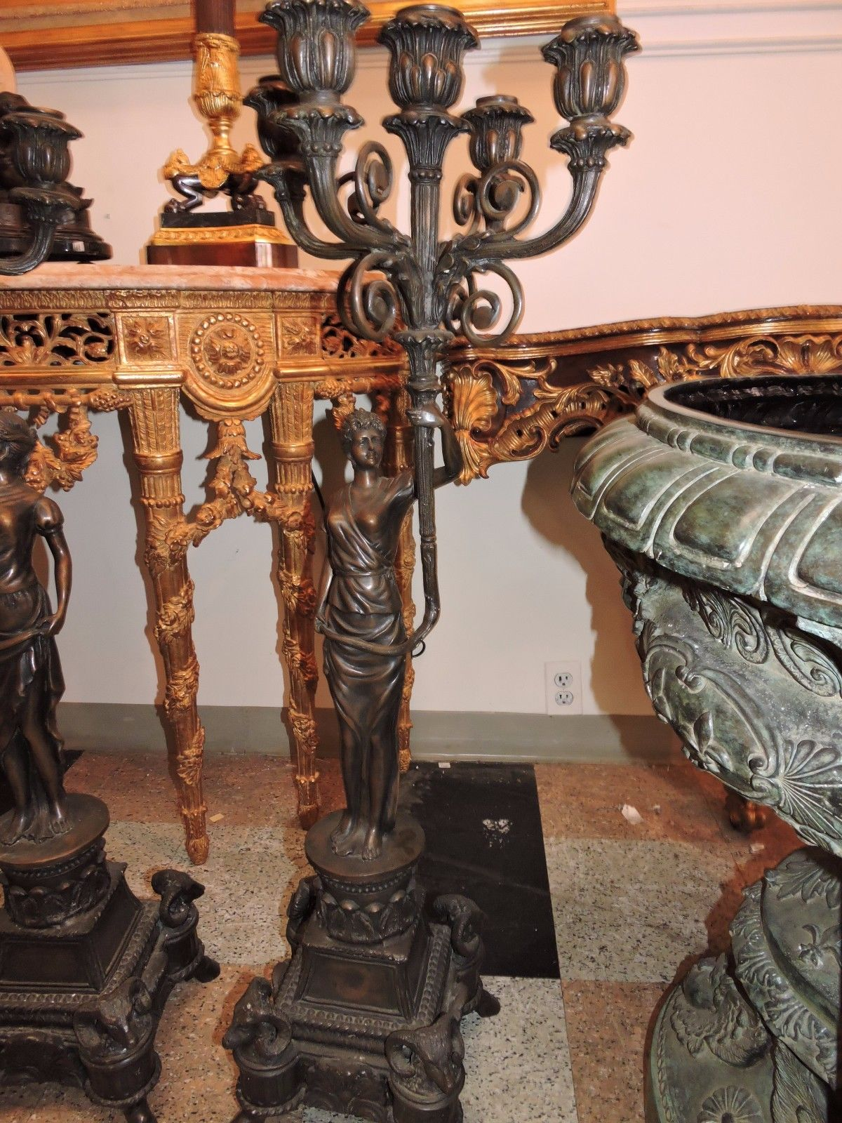 Pair Of Large Bronze Candelabras Woman Holding Candles