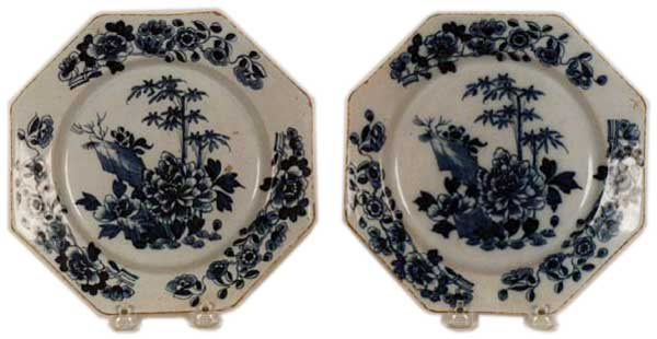 Superb pair of mid 18th century Irish blue u0026 white Delft hexagonal shape plates with Chinese chrysanthemum and bamboo leaf motifs.  sc 1 st  Antiques.com & Mid 18th C. Irish Blue u0026 White Delft Plates For Sale | Antiques.com ...