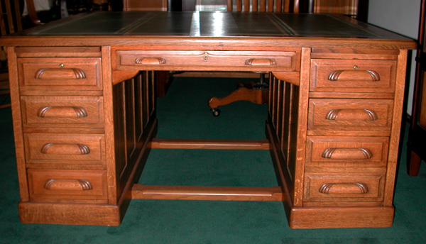 Fantastic American Oak Partners Desk c.1885 - For Sale - Fantastic American Oak Partners Desk C.1885 For Sale Antiques.com