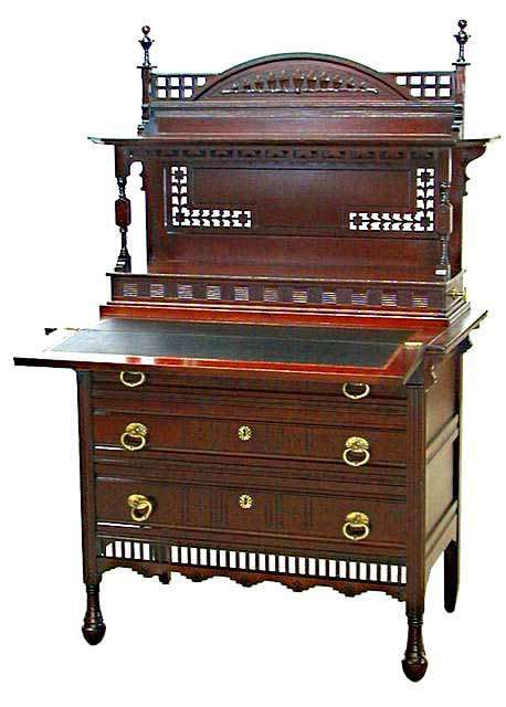 Antique Aesthetic Movement Mahogany Writing Desk For Sale