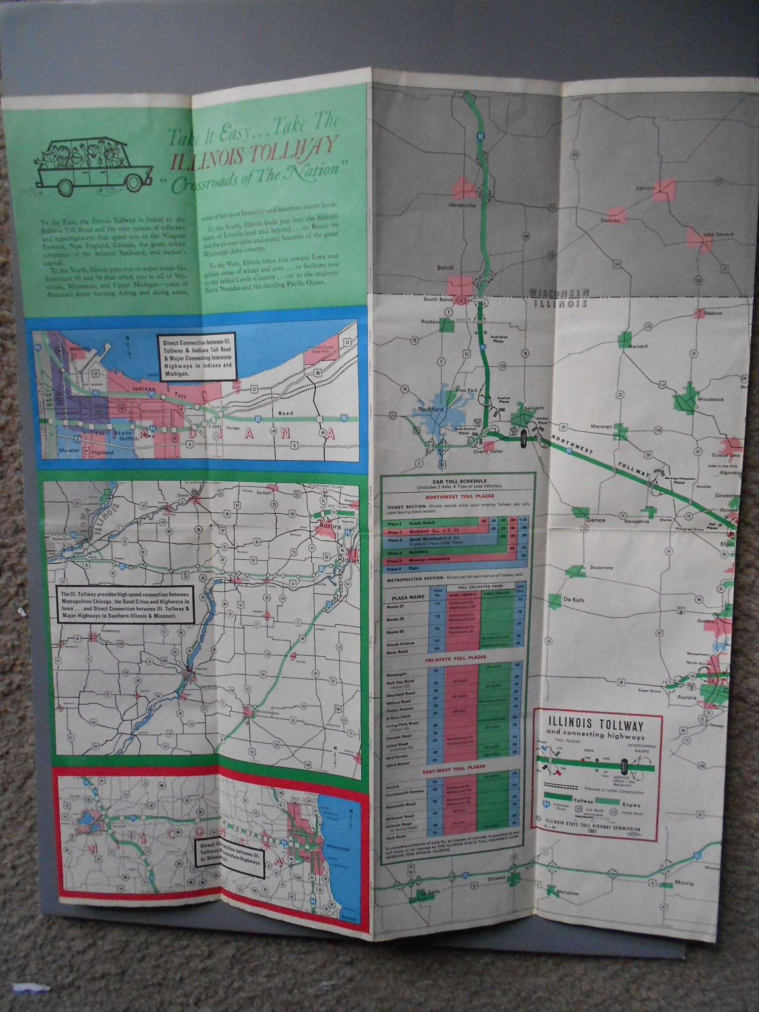 Tollway Illinois Map.Vintage Illinois Tollway Map 1967 For Sale Antiques Com Classifieds