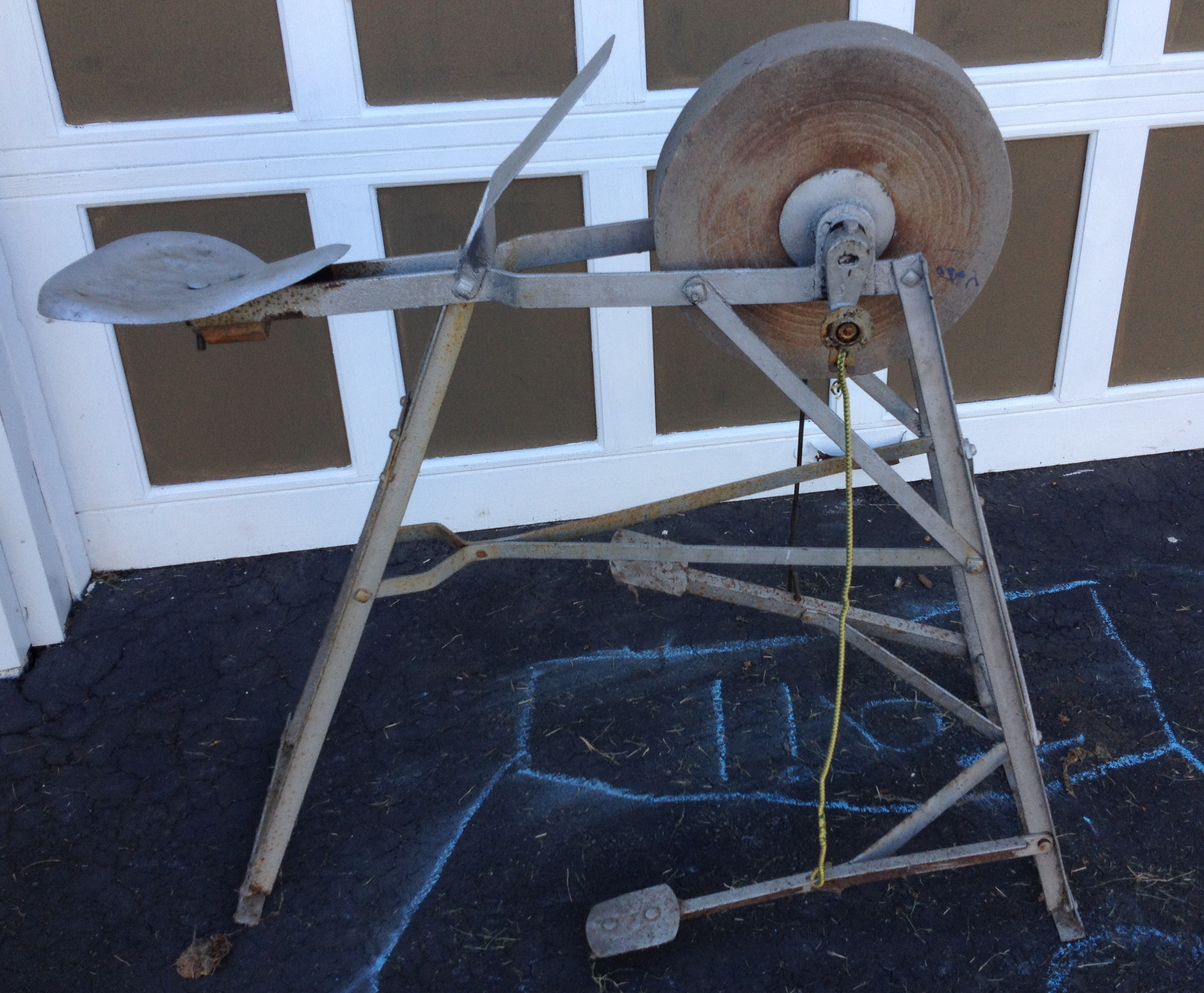 Pedal Powered Grindstone Sharpening Tool For Sale