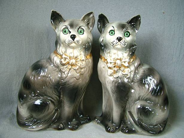 Pair Staffordshire Cats With Gl Eyes