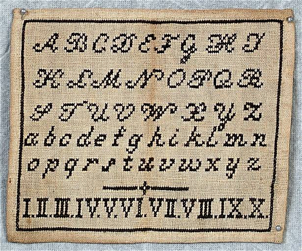 Mini c.1860 Alphabet & Roman Numerals Sampler For Sale | Antiques.com ...