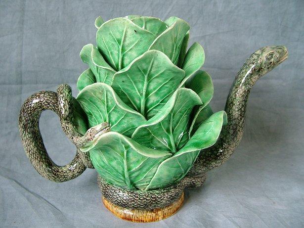 Mafra Majolica Palissy Snake Cabbage Teapot Cover For