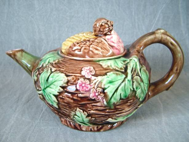 Majolica Bird On Nest Teapot For Sale