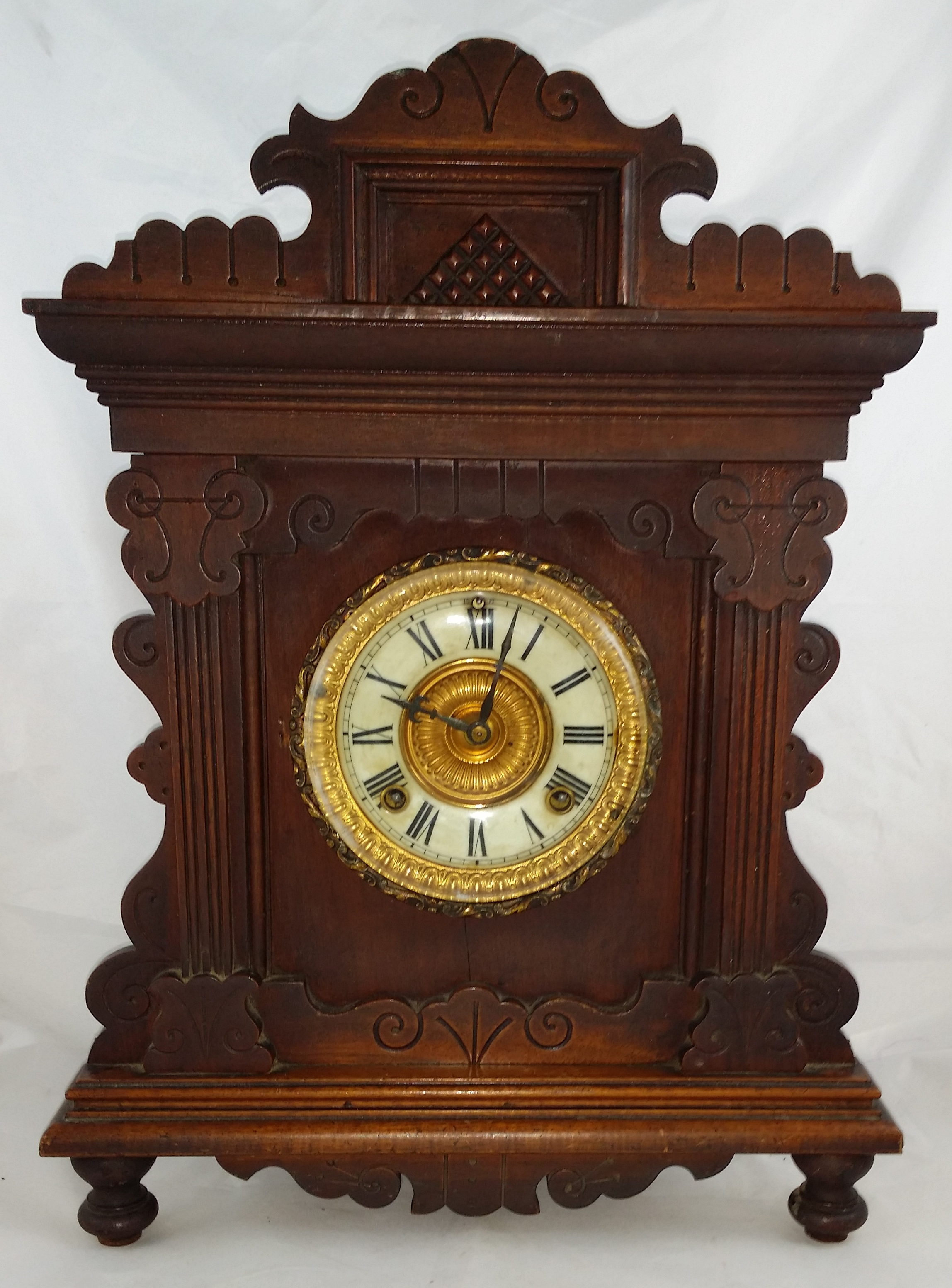 1890 39 S Ansonia Oak Shelf Clock For Sale