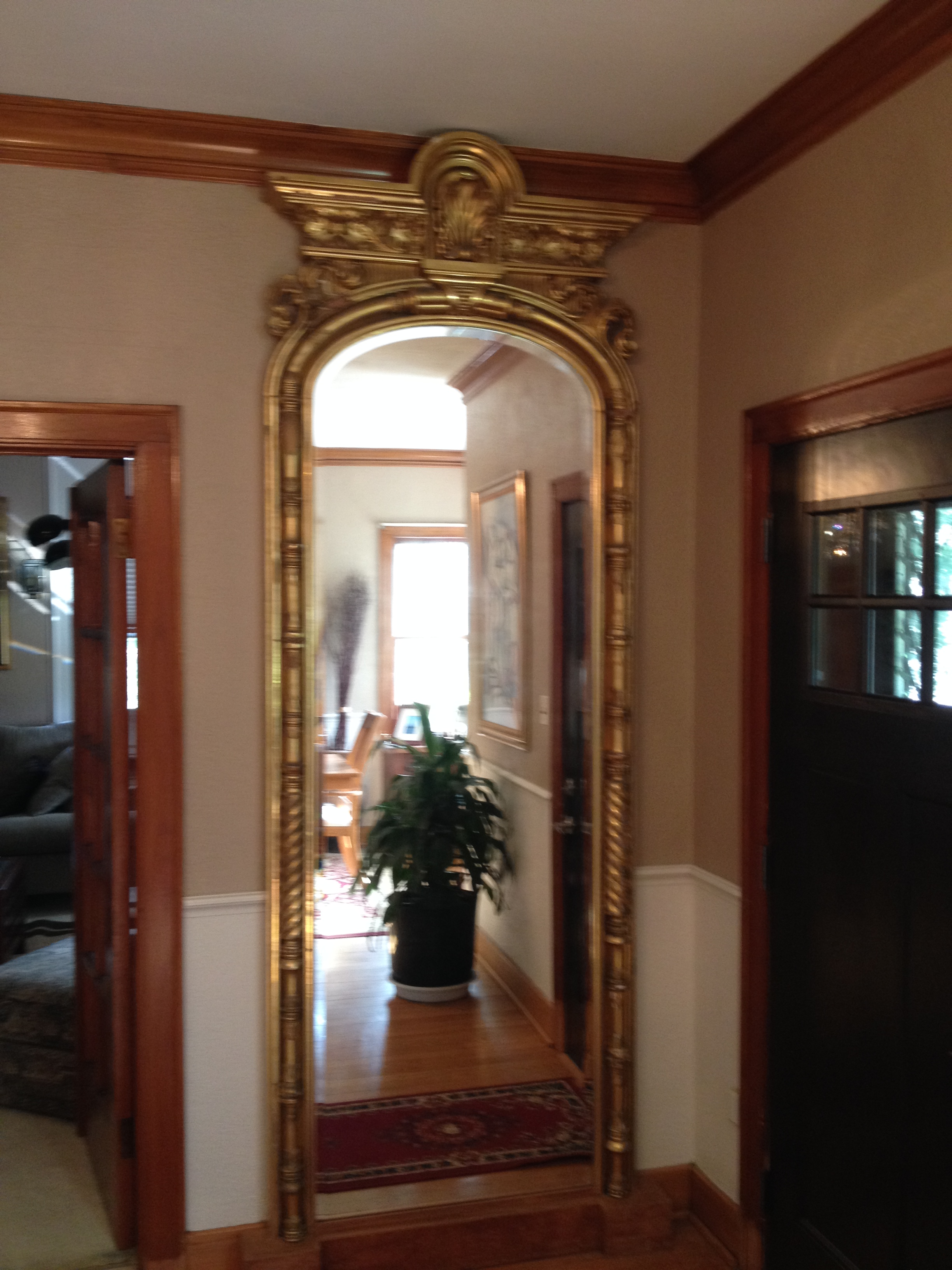Smuggled To The U S After Wwii From Austria This Pair Of 10ft X 3ft Floor Mirrors Is Hand Crafted Fine Wood And Plaster With 18k Gold Inlay