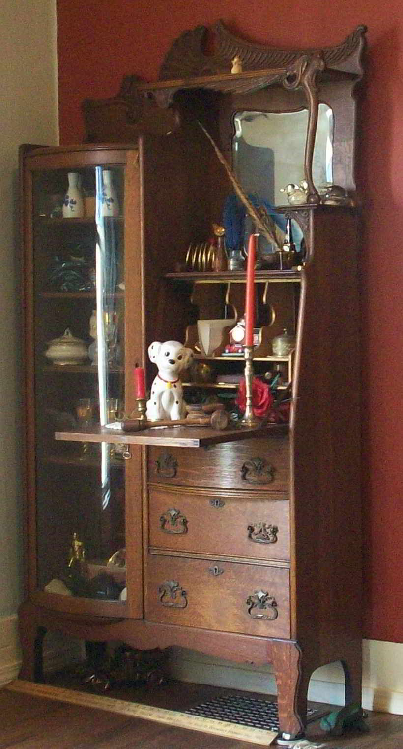Beau Antique Oak Secretary With Curved Glass Curio Cabinet For Sale |  Antiques.com | Classifieds