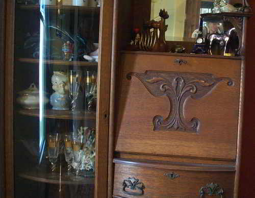 Antique Oak Secretary With Curved Glass Curio Cabinet For Sale | Antiques.com  | Classifieds