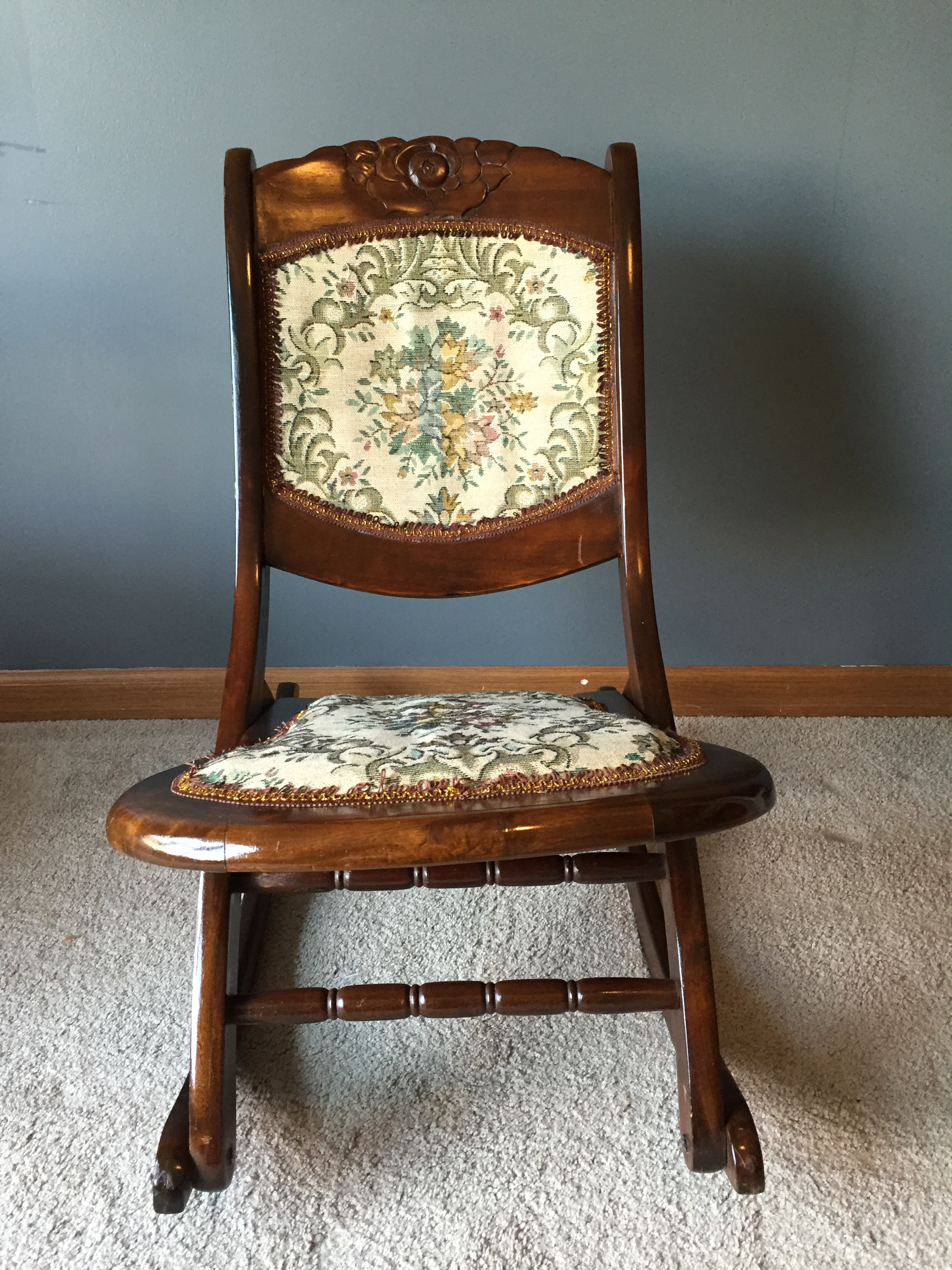 Antique sewing chair - Gorgeous Wooden Antique Folding Rocking Sewing Chair Seat And Back Cushion Feature Victorian Style Tapestry Ornate Rose Carving In Center Of Wood Back