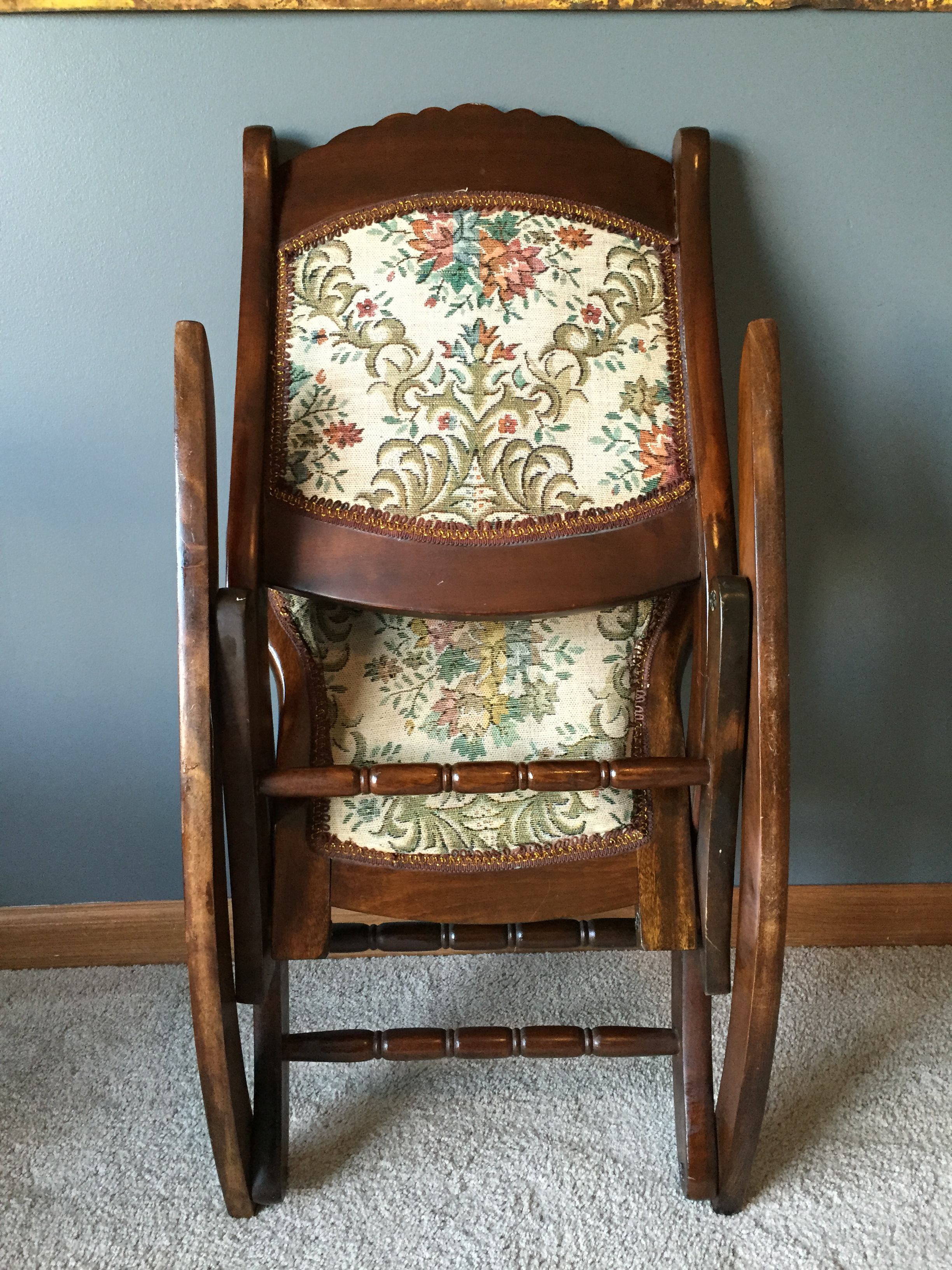 antique folding rocking sewing chair w tapestry