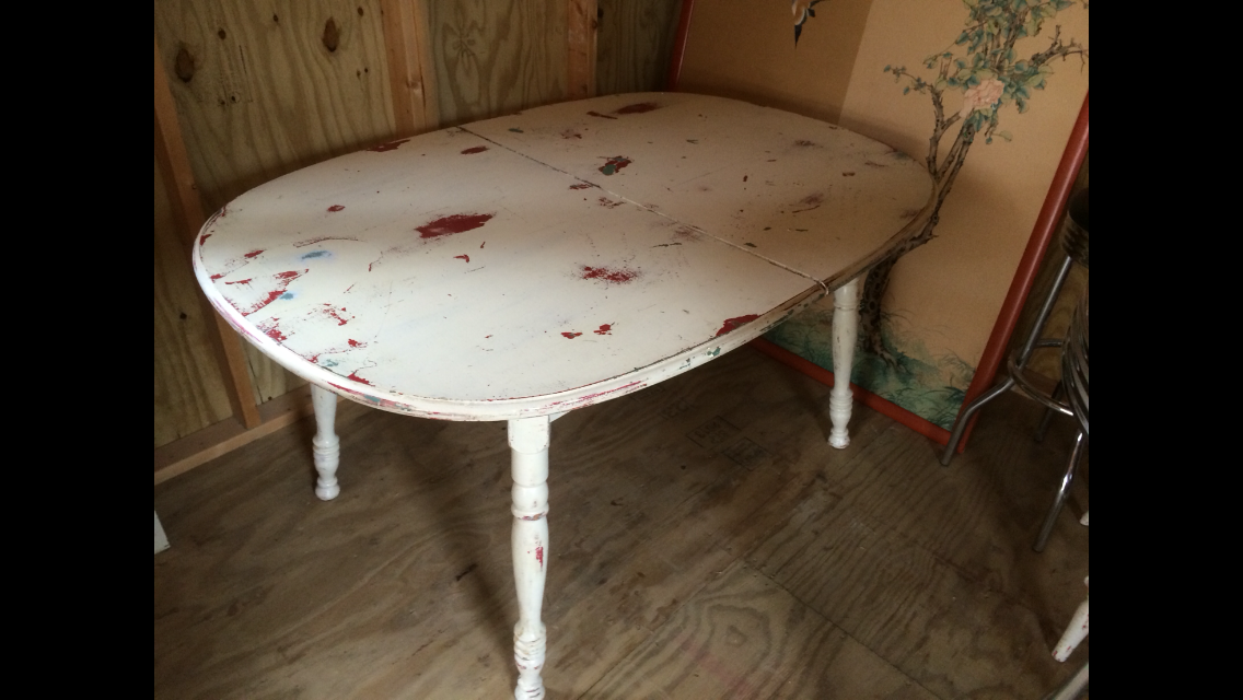 Vintage Shabby Chic Maple Dining Table W Two Chairs For
