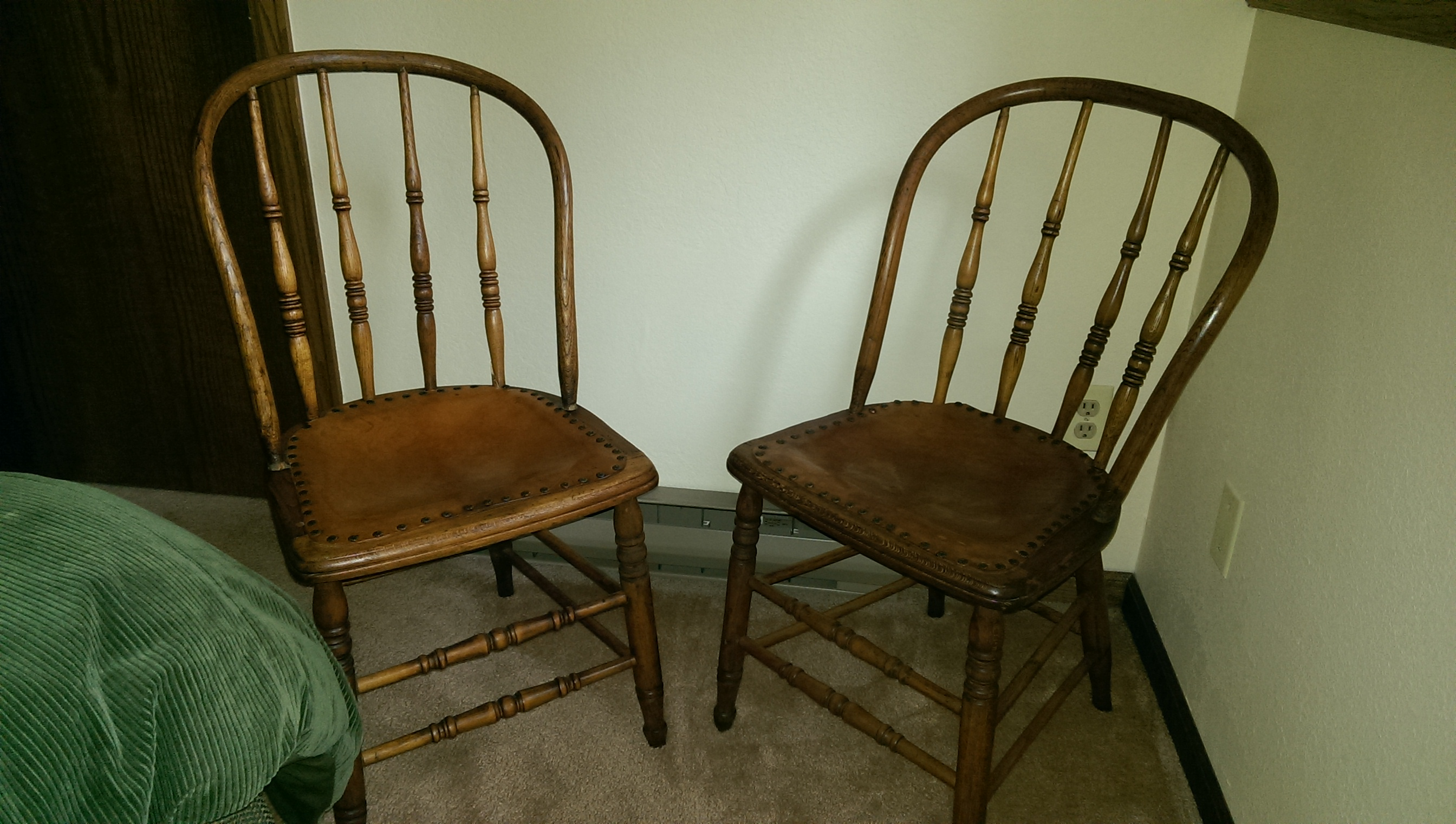 2 Antique Spindle Back Chairs With Leather Seats For Sale