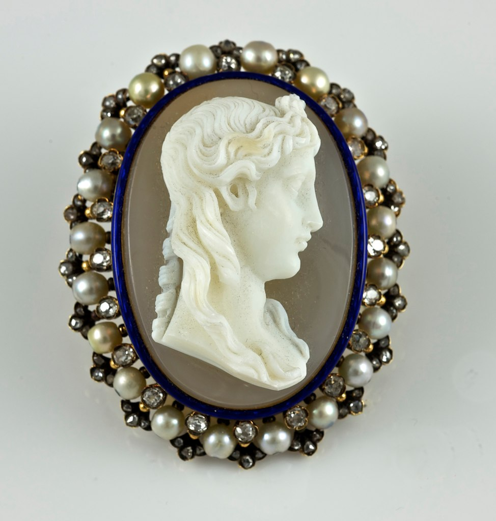 antique stone cameo with pearls and diamonds heirloom lady