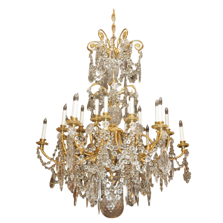 Antique Ormulu All Original Baccarat Crystal Chandelier - CHC33 - For Sale - Antique Ormulu All Original Baccarat Crystal Chandelier - CHC33 For