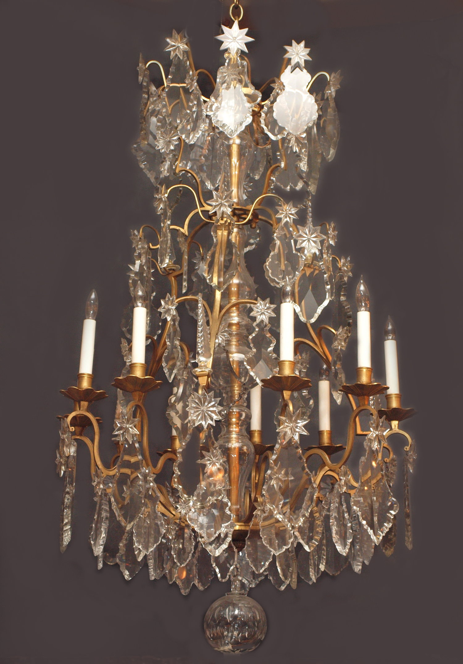 Antique French Baccarat Crystal and Ormolu Chandelier