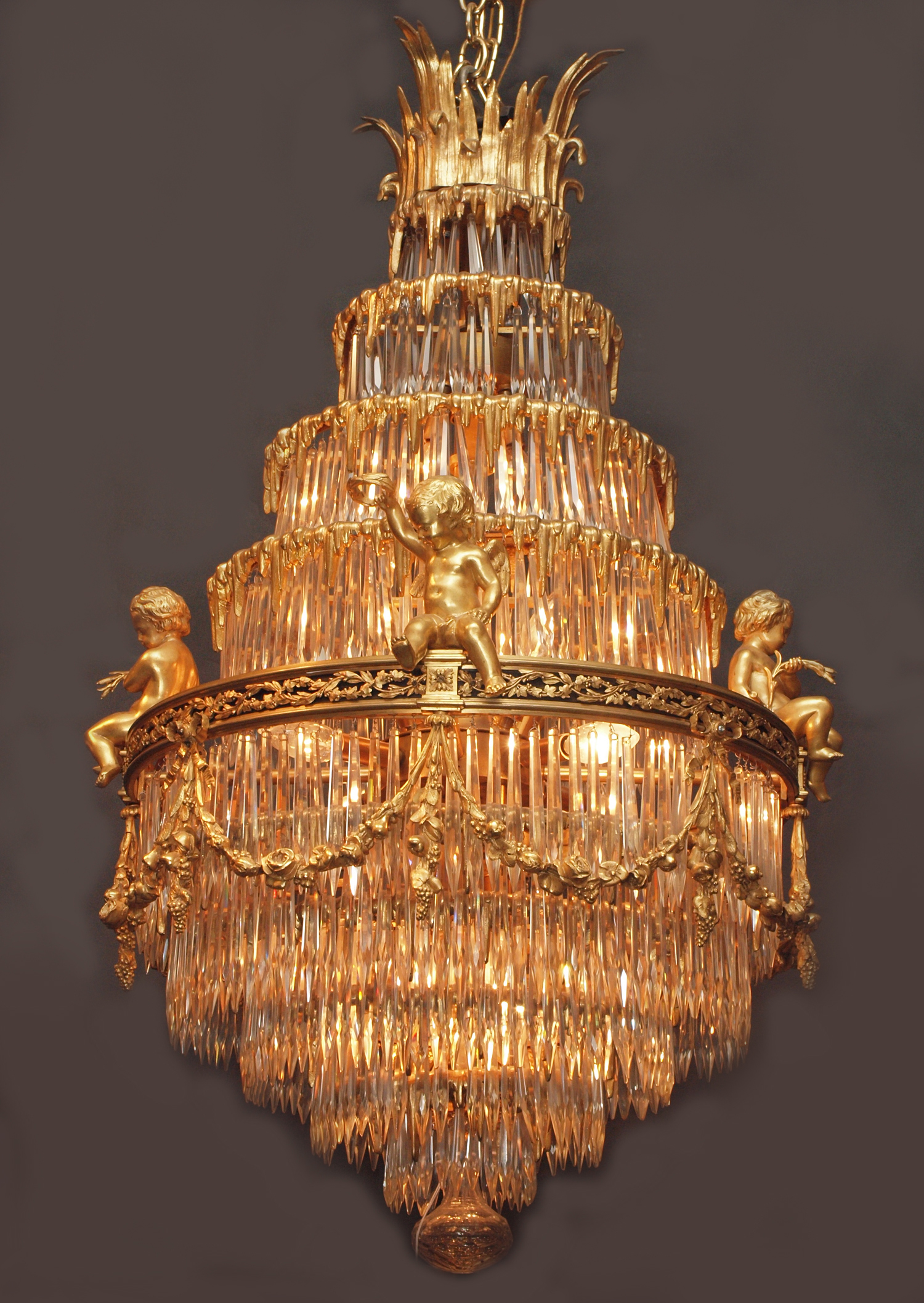 Antique French Belle Epoch Baccarat Crystal and Ormolu Waterfall Chandelier  -CHC110 - For Sale - Antique French Belle Epoch Baccarat Crystal And Ormolu Waterfall