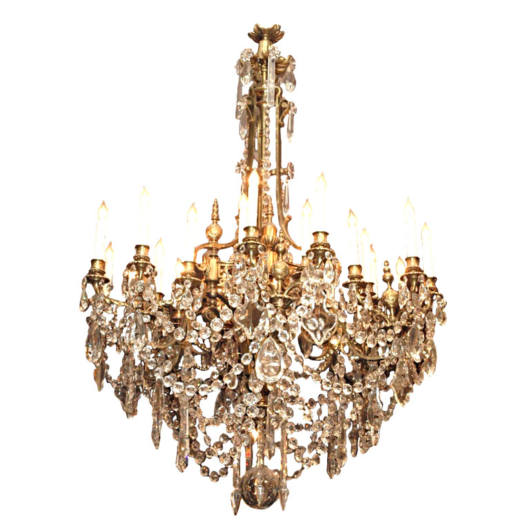 """Antique French 24 Light """"St Louis"""" Crystal and Bronze"""