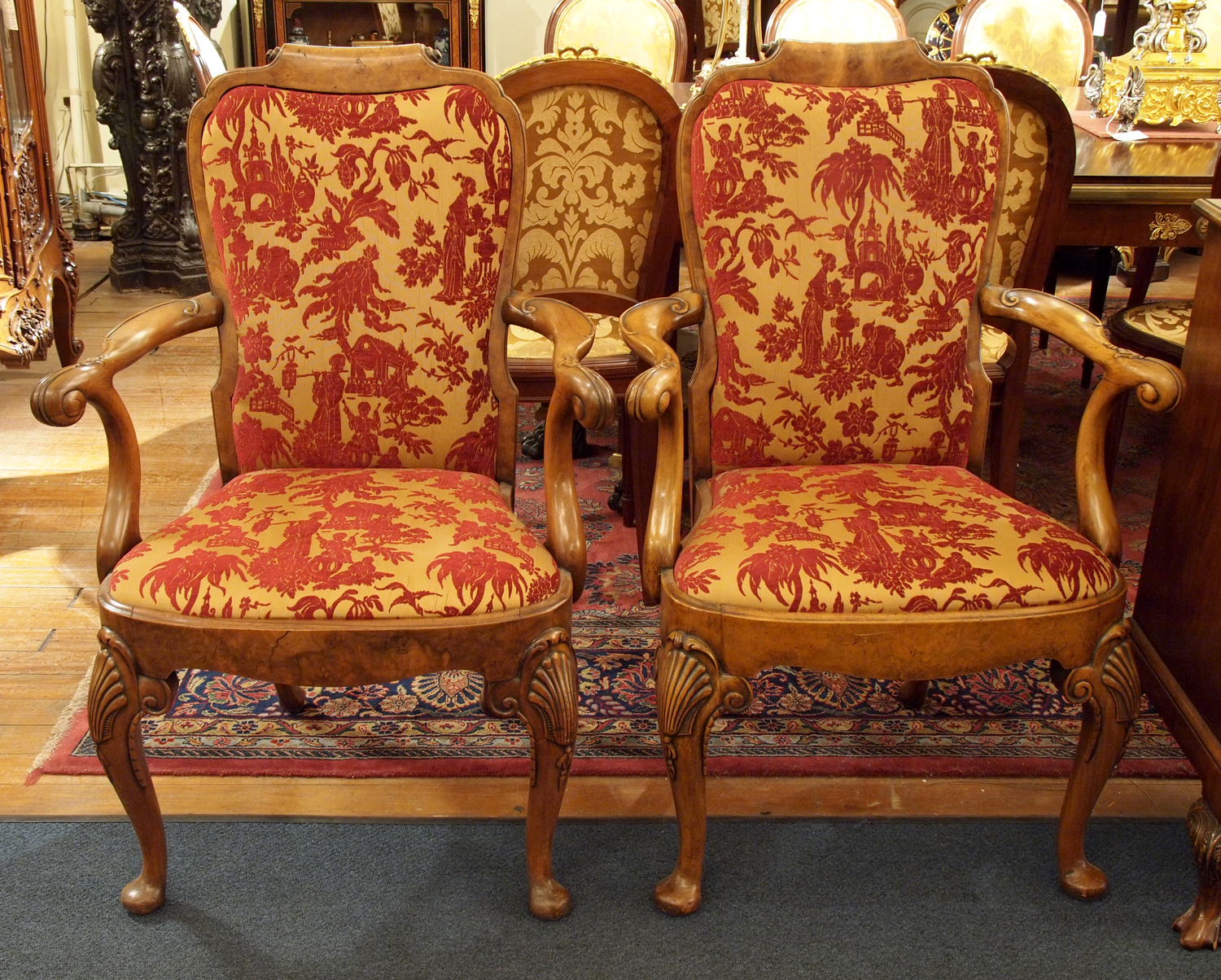 Pair Of Antique English Walnut Queen Anne Arm Chairs Eac41 For Sale Classifieds
