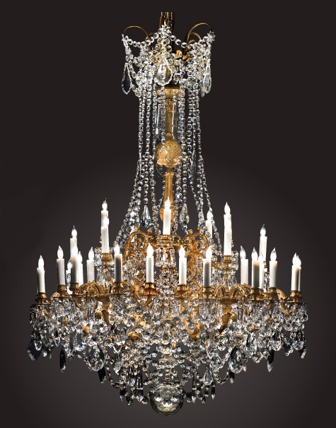 """Antique French Early 19th Century Ormulu Bronze and Fine Baccarat Crystal  """"Gasolier"""" Chandelier -CHC129 - For Sale - Antique French Early 19th Century Ormulu Bronze And Fine Baccarat"""