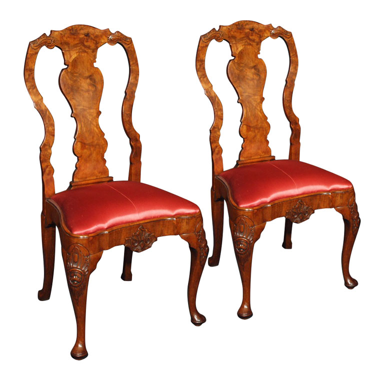 Pair Of Antique English Georgian Period Queen Anne Style Walnut Side Chairs Eoc33 For Sale