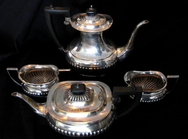 Set of Silver Plated Coffee u0026 Tea Pot Sugar Bowl u0026 Creamer - For Sale & Set of Silver Plated Coffee u0026 Tea Pot Sugar Bowl u0026 Creamer For Sale ...