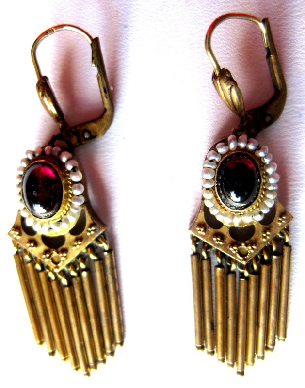 Pair Of Victorian 14k Gold Earrings With Garnet And Seed Pearls Circa 1880 American Oval Cabochons Bezel Set Pearl Surround Each Stone