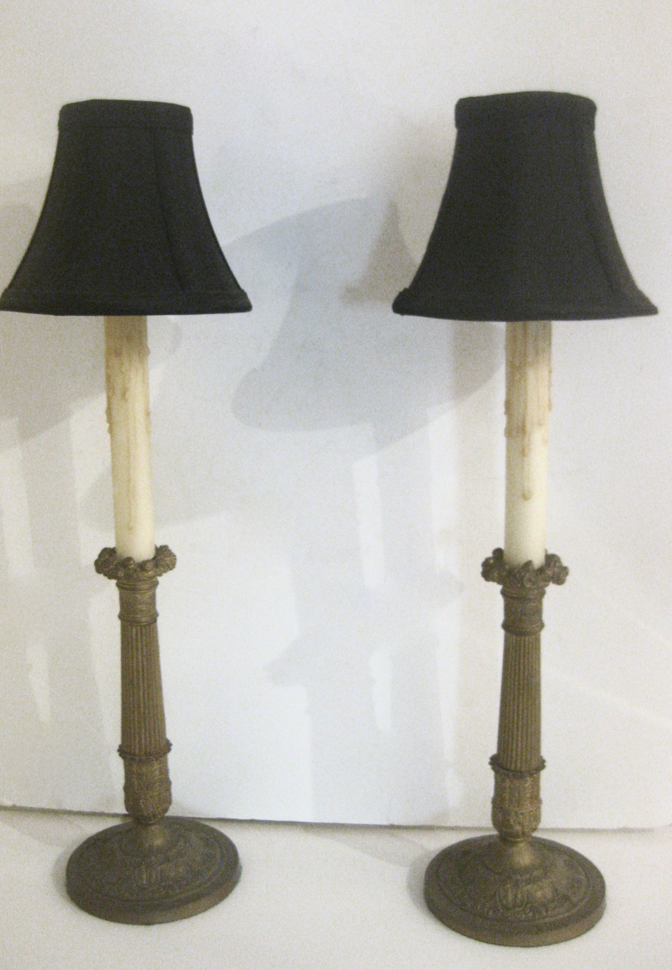 pair of antique candlestick lamps for sale. Black Bedroom Furniture Sets. Home Design Ideas