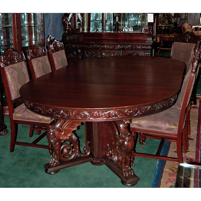 R j horner 16 pc winged griffin carved mahogany dining for Antique dining room sets