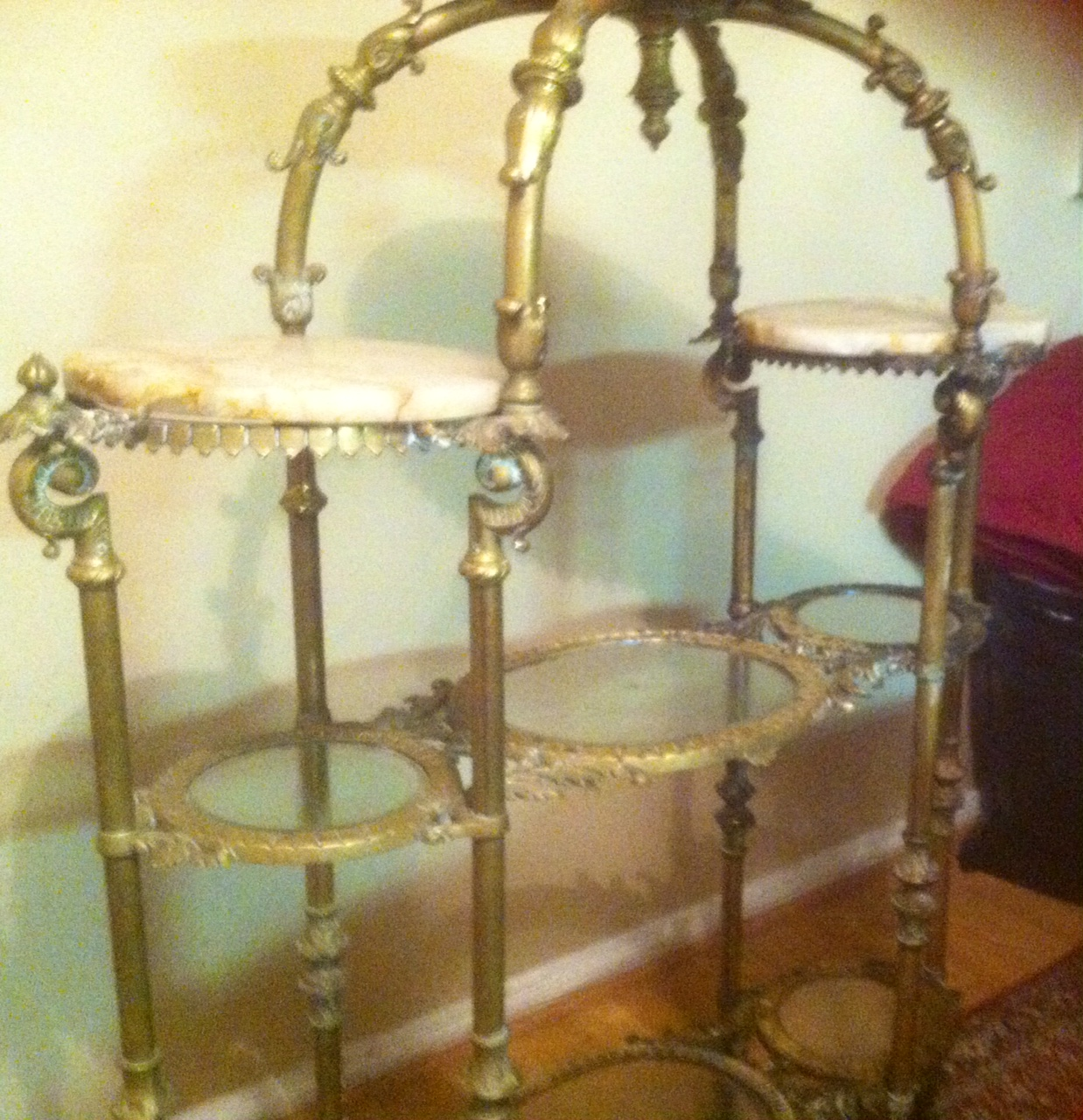 victorian four tier brass glass marble etagere for sale classifieds. Black Bedroom Furniture Sets. Home Design Ideas