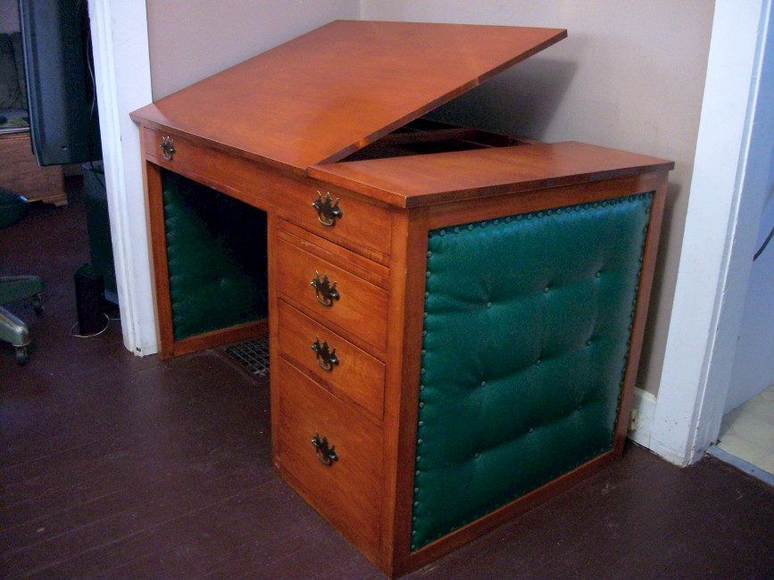 vintage cherry desk midcentury modern drafting table writing art deco secretary for sale