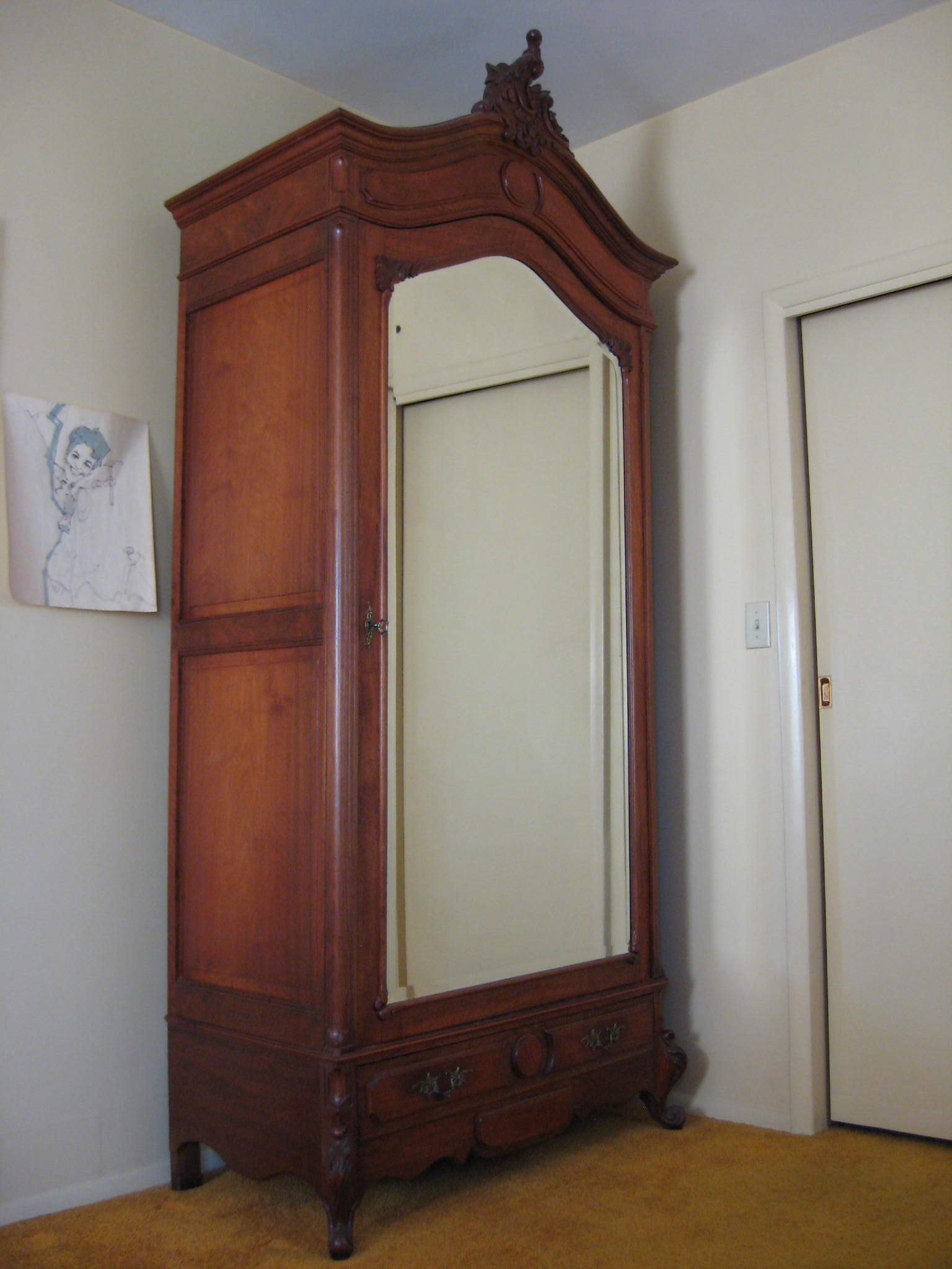 louis xv walnut armoire for sale classifieds. Black Bedroom Furniture Sets. Home Design Ideas
