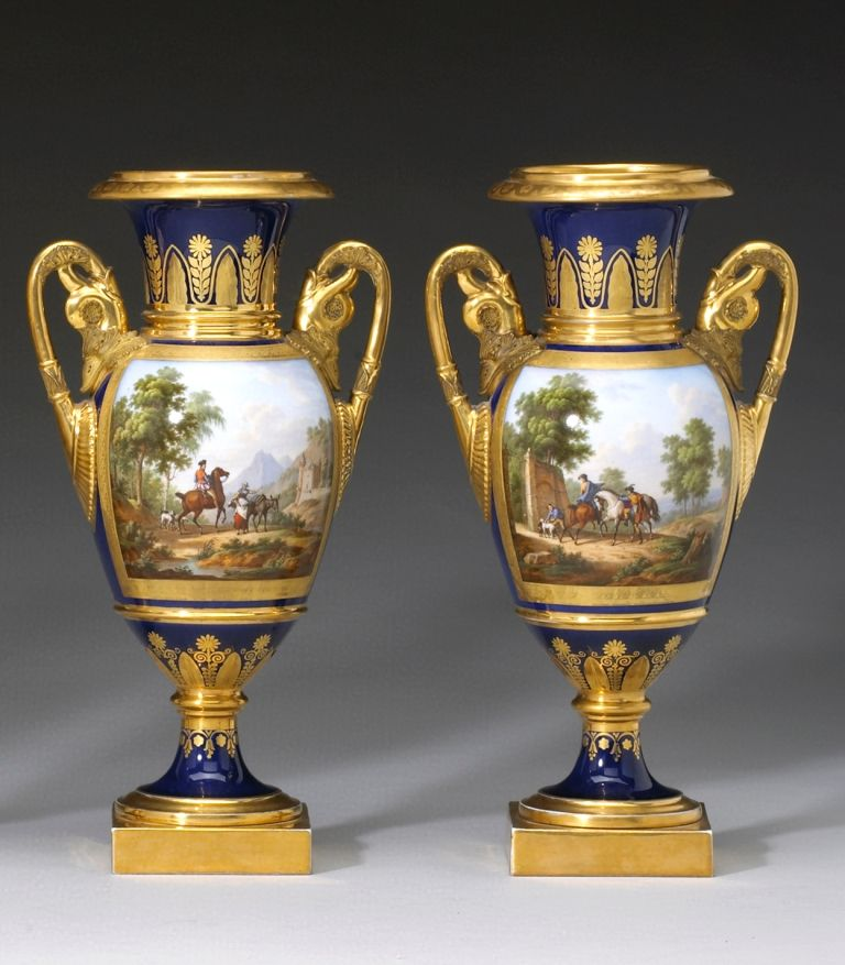 Rare Important Early 40th Classical Pair Of Paris Porcelain Urns Unique Decorative Urns For Sale