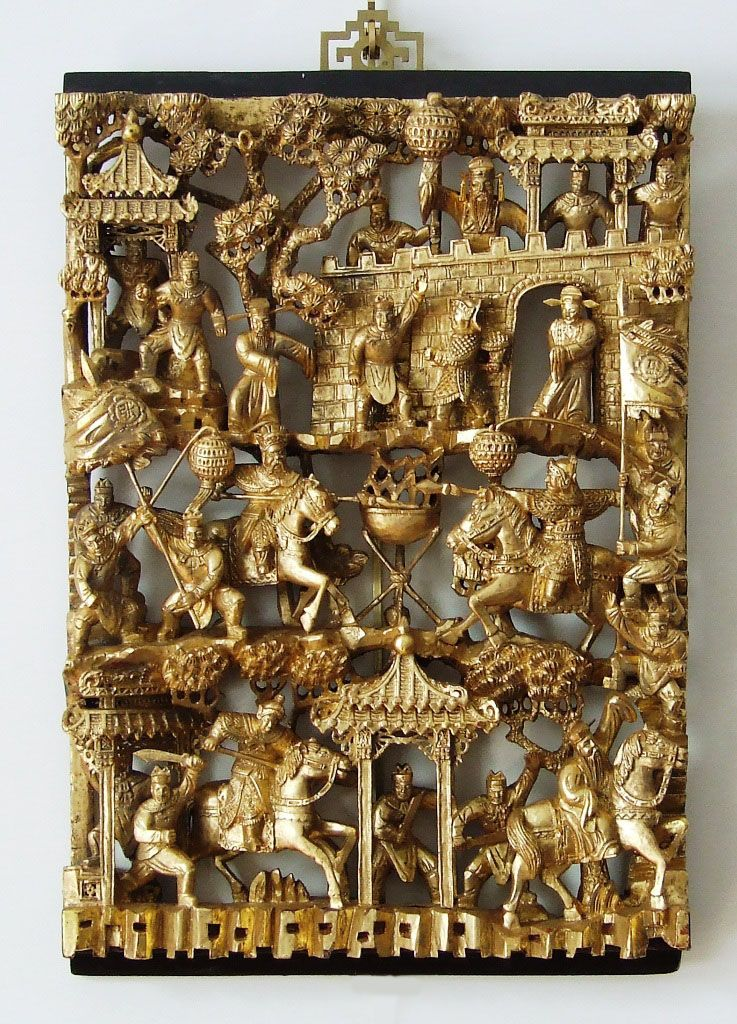Superb early th c chinese warrior panel extensively