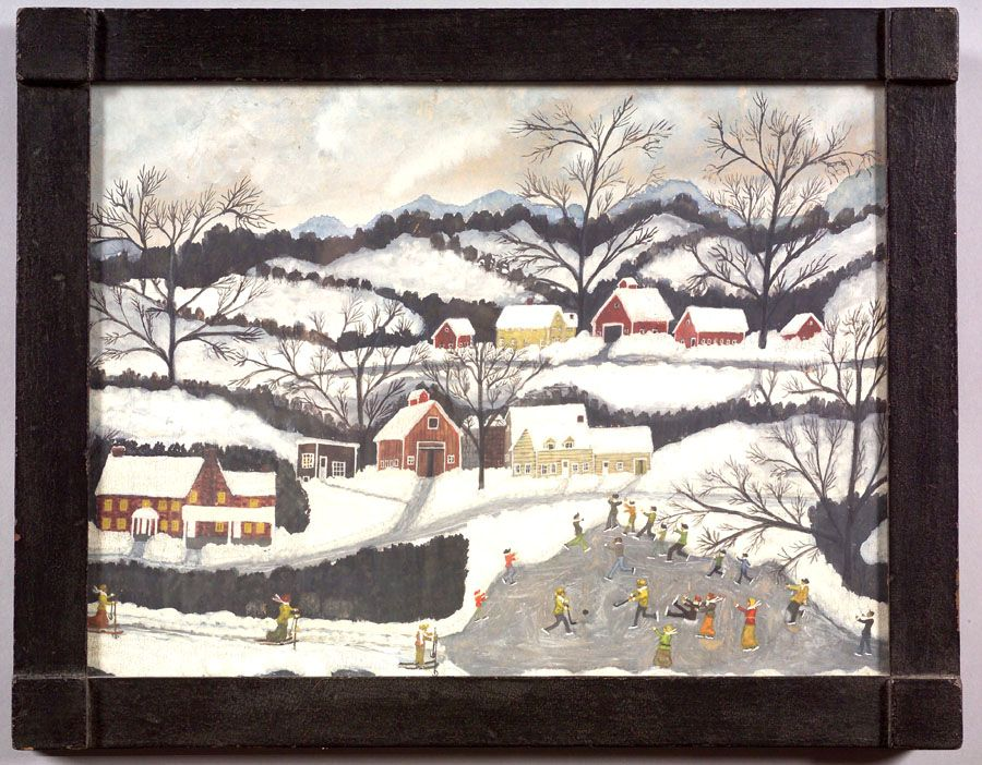 American School Folk Art Skating In A Winter Landscape