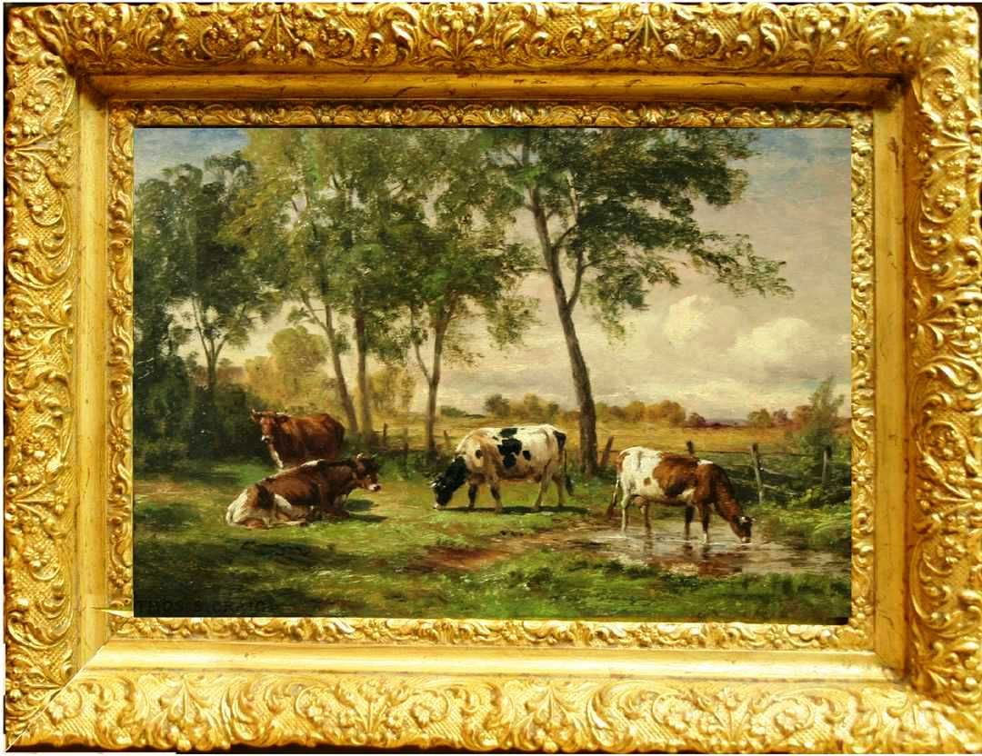 Superb 20th c american landscape oil painting of cows in a for Oil art for sale