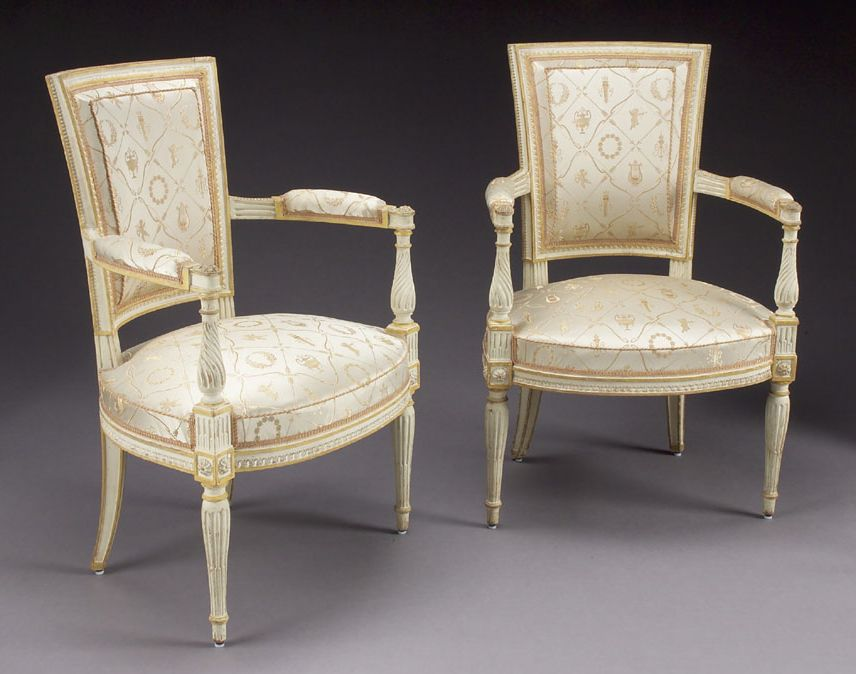 superb pair of 18th c louis xvi carved painted fauteuils. Black Bedroom Furniture Sets. Home Design Ideas